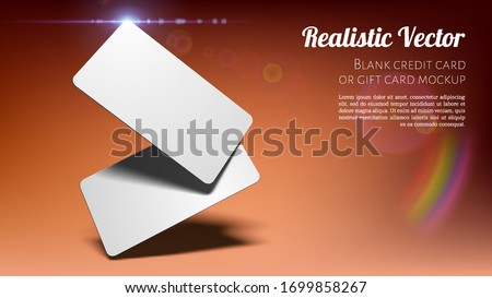 Two Blank Cards Business Cards, Tickets, Flyers, Invitations, Coupons, Banknotes, etc. on a Studio Brown or Salmon Background. Layered Template for Design with Transparent Shadows.