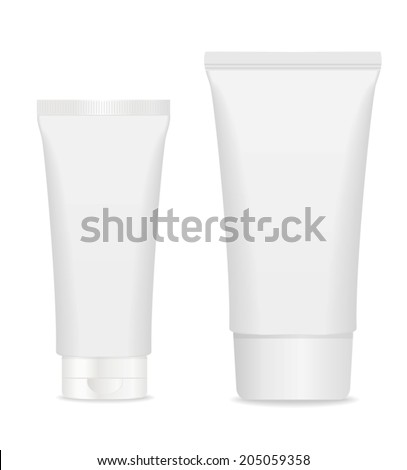 two blank cosmetic tubes