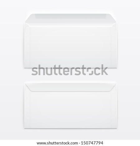 Two blank envelopes - opened an closed,  with soft shadows, on gray background. Vector illustration. EPS10.