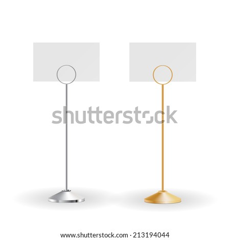 Two blank metal card holders isolated  on white background, vector illustration