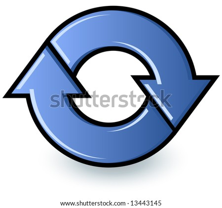 Two blue arrows cycling in a circle to show a refresh or recycle symbol.