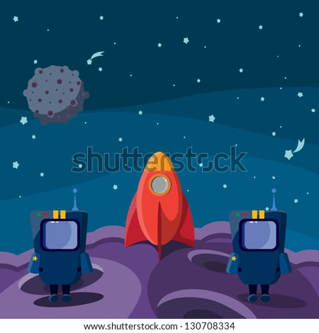 Two blue astronaut on the purple planet