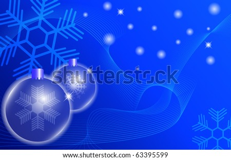 two blue Christmas ball on a blue background.vector eps10  illustration