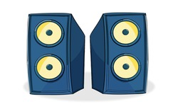 Two Blue speakers in plane wooden body, 2D vector icon Music Blue speaker icon. Cartoon illustration of Two music speaker vector icon and 2d illustration