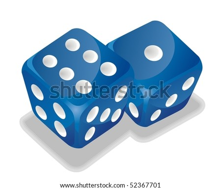 two blue vector dice
