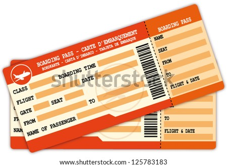 Two boarding passes. Red and orange flight coupons illustration.