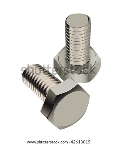 Two bolts are isolated on a white background