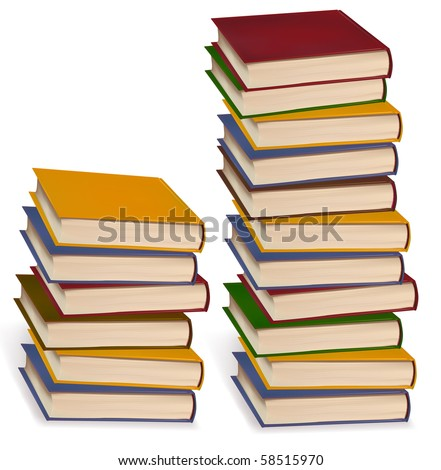 Two books stacks isolated on white background. Vector.