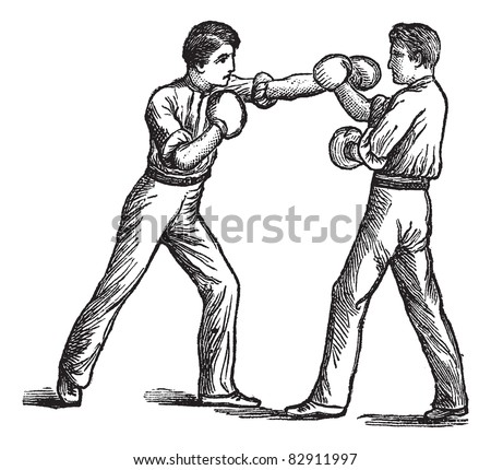 Two Boxers, boxing, vintage engraving. Old engraved illustration of two boxers showing how to make first blow and how to deal with it. Trousset encyclopedia (1886 - 1891).