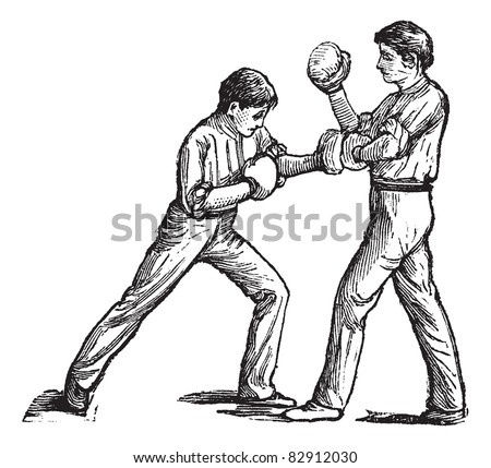 Two boxers fighting, vintage engraving. Old engraved illustration of two boxers fighting and one is showing how to stroke left fist on the chest. Trousset encyclopedia (1886 - 1891).