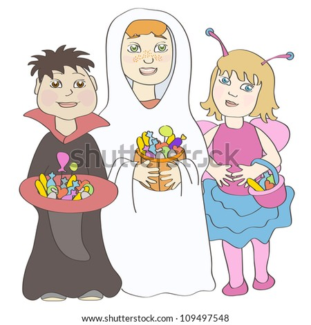 Two boys and girl wearing halloween costumes and holding sweets. No mesh, gradients, transparency used. Objects grouped and named in English.