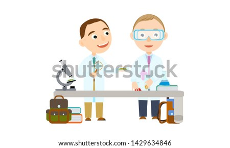 Two boys at school or university. Student in the lesson of science conduct biologic and chemical experiments. Conducting experiments. Cute Vector Illustration