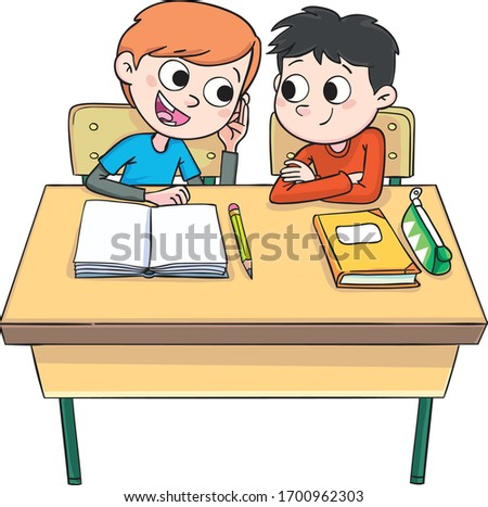 two boys at the school table whisper in class Stock foto ©