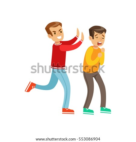Two Boys Fist Fight Positions, Aggressive Bully In Long Sleeve Red Top Pushing Another Kid