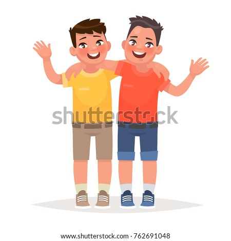two boys hugged and waved hands