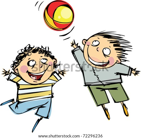 Two boys playing ball - stock vector
