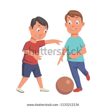 two boys playing football flat