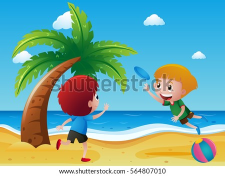 two boys playing frisbee on the
