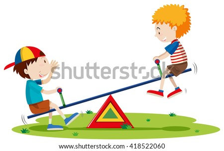 two boys playing seesaw in the