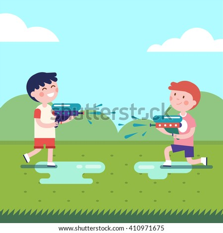 two boys playing water guns