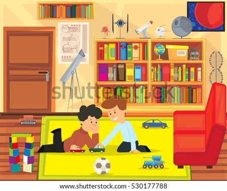two boys playing with toys in
