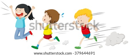 Two boys running in a race illustration