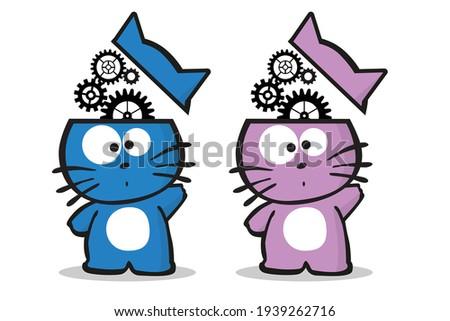 two brainstorming kitten