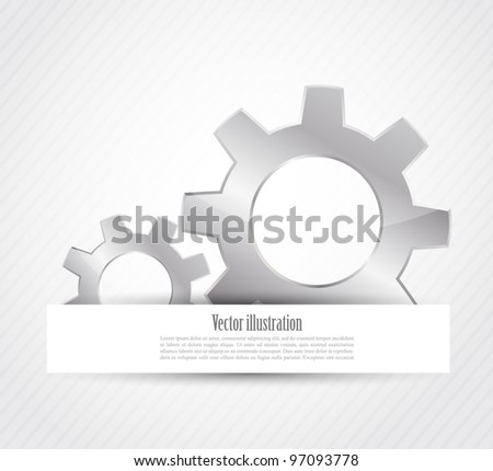 Two bright gears on bright gray background
