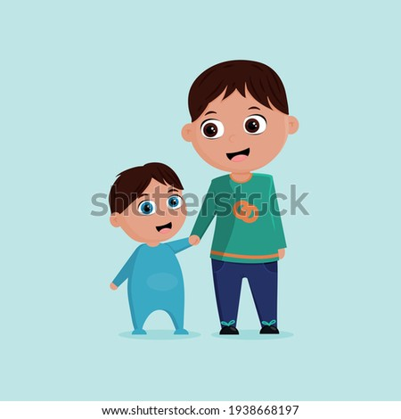 Two brother cartoon illustration with baby Stockfoto ©