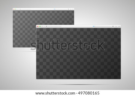 Two browser windows with transparent place for screen on light background