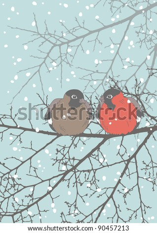 Two bullfinches sitting on the branch