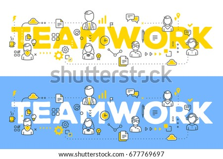 Two business banners of vector creative illustration of business team line art style. People, icons, team word typography on white and blue background. Office staff teamwork. Stylish word team design