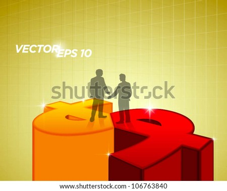 two business man handshake and standing on money sign