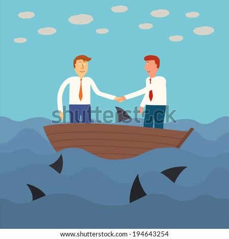 two business man shaking hand on small boat with shark in the sea,business concept,illustration,vector