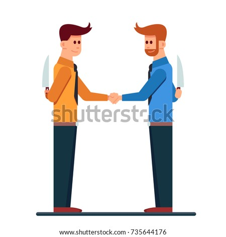 Two business mans isolated handshaking with hide a knife in the back