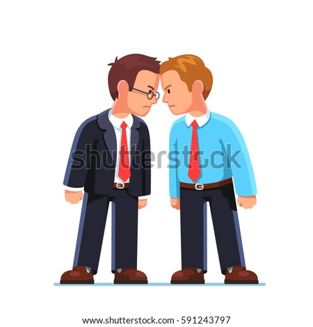 Two business men enemies or opponents standing head to head arguing and staring at each other. Work conflict between colleagues & office workers. Fight for leadership. Flat style vector illustration. Stock photo ©