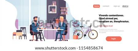 two business men sitting office desk modern coworking space working together interior background male cartoon character horizontal banner flat vector illustration