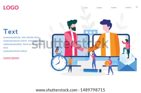 Two business partners shaking hands in big laptop. Online business, Partnership and agreement, with small employ around, cooperation and deal completed, remote concept vector illustration.