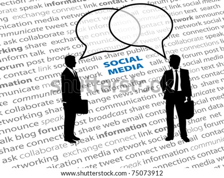 Two business people connect in social media network talk bubbles on a text page background