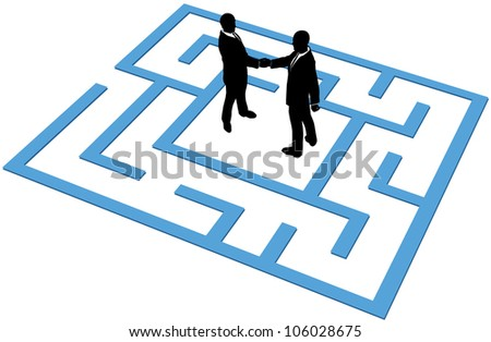 Two business people find a solution to problems and make an agreement in a maze