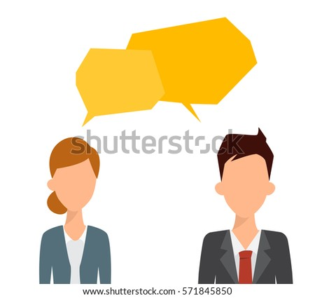 Two business people talking with bubble speech. Flat people vector.