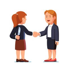 Two business women standing together and shaking each other hands while one holding knife behind her back. Treacherous deal, fraud or betrayal. Hiding killer concept. Flat style  vector illustration.