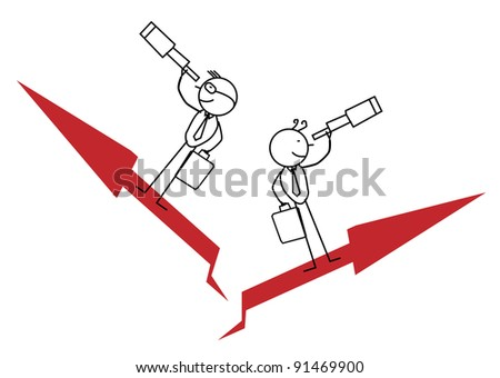 Two Businessman Find Opportunity and Up Chart