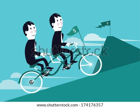 two businessman riding tandem