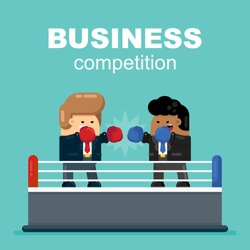Two Businessman Rivals Compete on Boxing Ring Wearing Boxing Gloves and Office Suits. Rivalry, Competition, Conflict Concept. Cartoon Flat Vector Illustration.