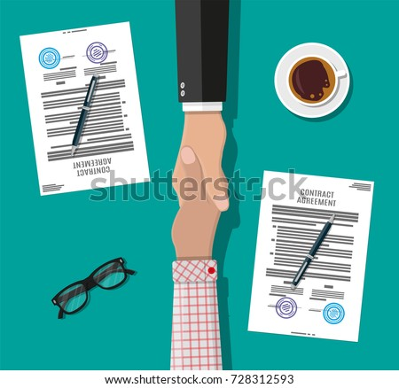 Two businessman shake hands after signed contract. Contract agreement. Shaking hands. Concept of success deal, partnership, agreement. Contract, coffee, eyeglasses. Vector illustration in flat style