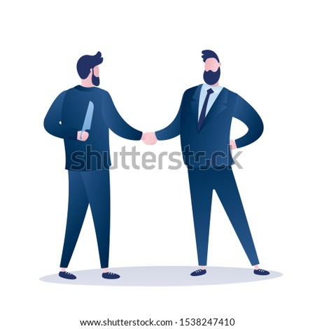 Two businessman shaking hands. Betrayal metaphor. Business partner holds a knife in hand. Male characters isolated on white background. Trendy style flat vector illustration