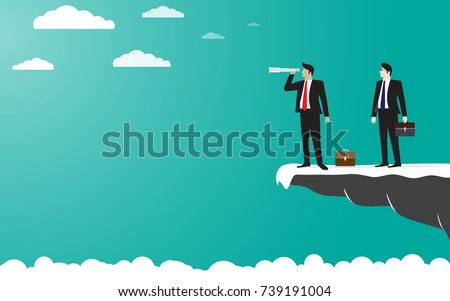 Two Businessman standing on top of the mountain cliff using binoculars looking for success. concept business illustration vector flat