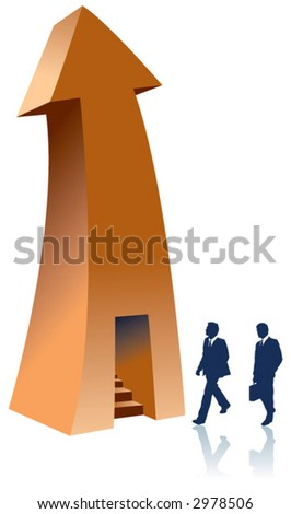 Two businessmen enter a stairway in an arrow