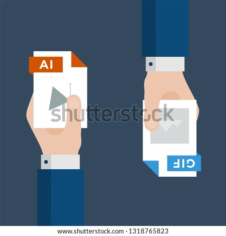 Two Businessmen Hands Exchange Different Types of Files. AI Convert to GIF. File Format Conversion. Flat Icons. Vector Illustration